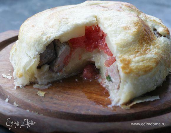 Кулебяка со свиной вырезкой и грейпфрутом