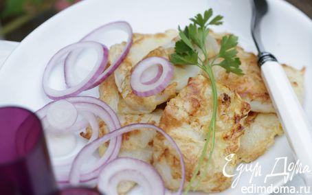 Рецепт Кальмары с яйцом и розовым луком