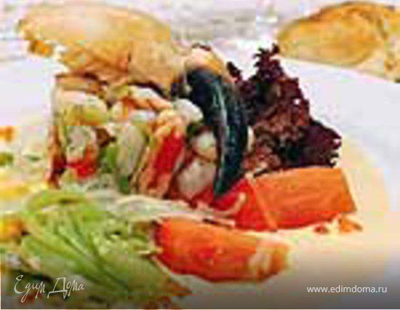 Севиче (сорт рагу) из устриц с салатом и соусом из