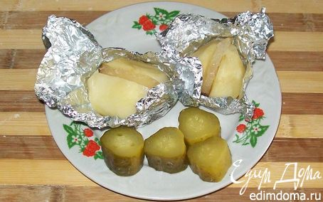 Рецепт Картошка с салом в духовке