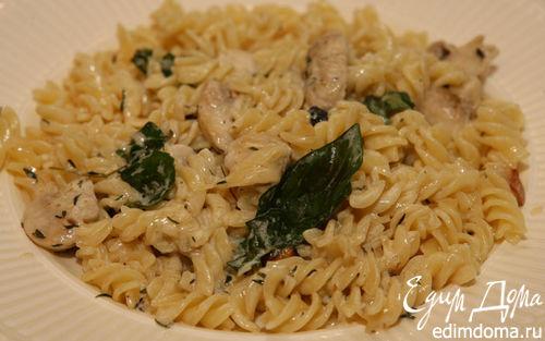 Рецепт Макароны со сливками и грибами