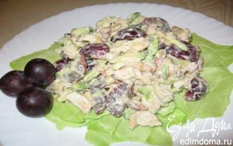 Рецепт Салат с курицей, авокадо и виноградом