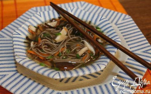 Рецепт Гречневая лапша с грибами и морской капустой