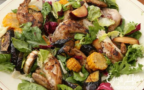 Рецепт Цыплята на гриле с салатом из кукурузы, слив и баклажанов
