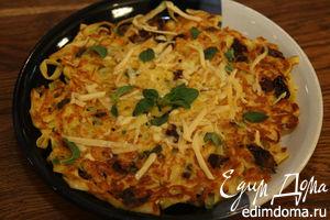 Запеканка из макарон с яйцами, сыром и вялеными помидорами