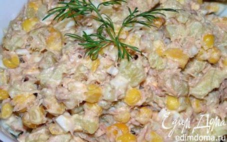 Рецепт Салат с консервированным тунцом