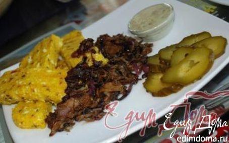 Рецепт Полента с грибами и блю-соусом