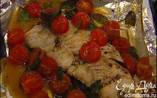 Рецепт Запеченная треска с помидорами и шпинатом