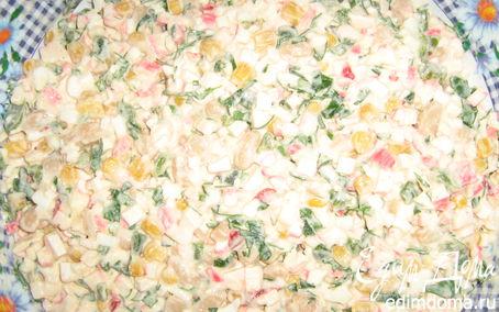 Рецепт Салат из крабовых палочек, кукурузы,фасоли,яйца