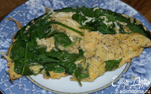 Рецепт Взбитые яйца со шпинатом, сыром и майораном