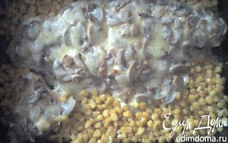 Рецепт Филе рыбы, запеченное с грибами и кукурузой