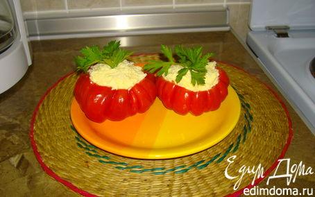 Рецепт Помидорки, фаршированые сыром с чесночком