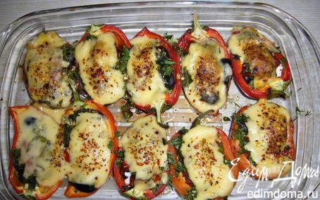 Рецепт Запеченные перцы с брынзой и оливками