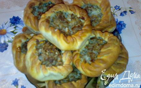Рецепт Открытые пирожки с мясом и рисом (Вак Бялеш)
