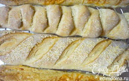 Рецепт Багет с сыром, черносливом, семечками и т.д.