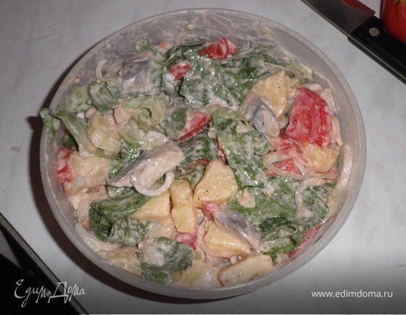Салат с сельдью и сметаной