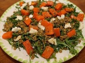 Салат из тыквы с чечевицей