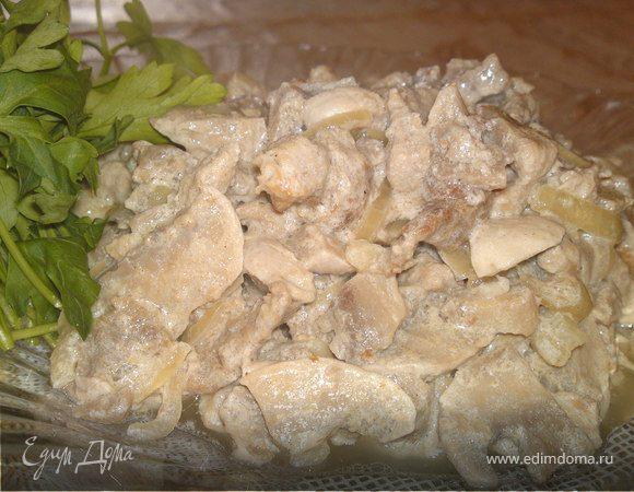 Бефстроганов с грибами