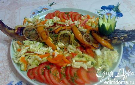 Рецепт Щука фаршированная картофелем,чесноком и укропом