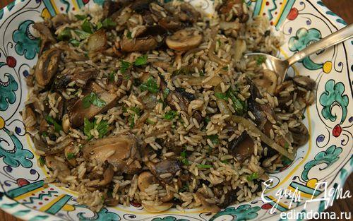 Рецепт Теплый салат из бурого риса и грибов