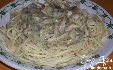 Рецепт Спагетти с курочкой в изумрудном соусе