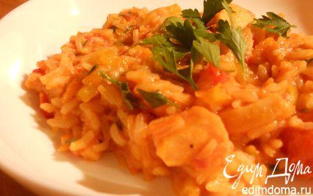 Рецепт Кальмары с томатами, сладким перцем и рисом