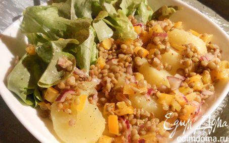 Рецепт Теплый картофельный салат с чечевицей