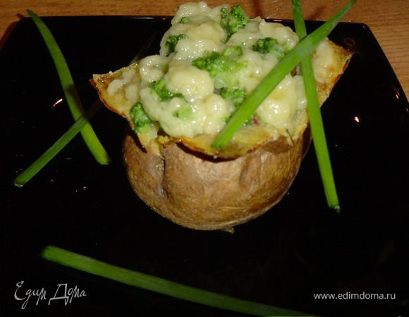Запеченный картофель с брокколи