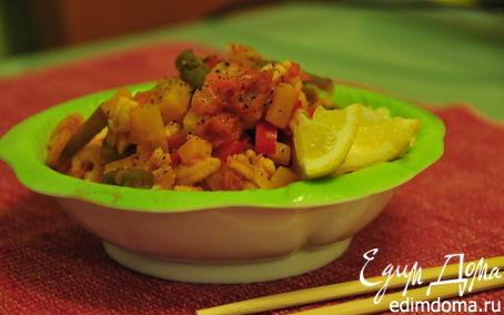 Рецепт Креветки с овощами