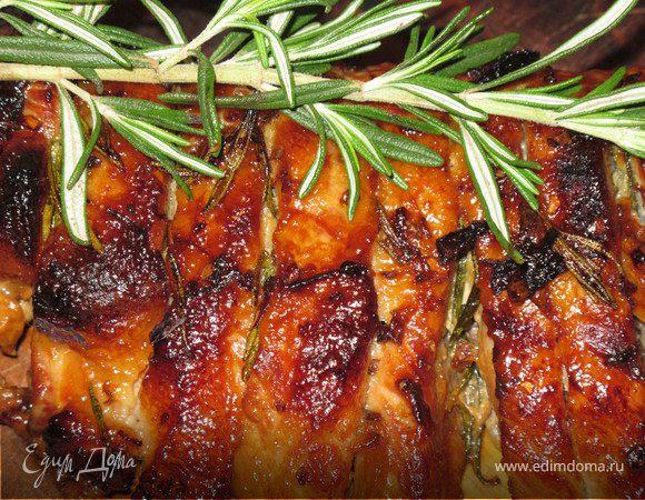 Свиные ребра с розмарином и каштановым медом