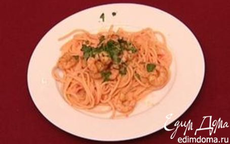Рецепт Спагетти с лососем и креветками.