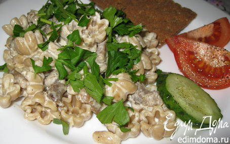 Рецепт Ржаные макаронцы со свининой и сливками