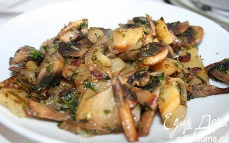 Рецепт Картофель с грибами (постное блюдо)