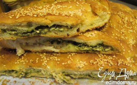 """Рецепт Хлеб """"Mama mia!!!!"""" с базиликом, пармезаном и кунжутом"""