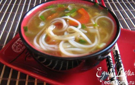 Рецепт Луковый суп с рисовой лапшой и соевым соусом