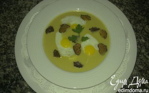 Рецепт Крем суп с трюфелями и перепелиными яйцами (Leek soup with quail's eggs and truffles)
