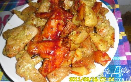 """Рецепт Запеченные крылышки """"Вкусный острячок"""" с картофелем"""