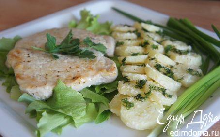 Рецепт Свиной эскалоп, пропитанный горчицей и картошка с хреном