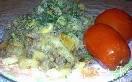 Рецепт Картошка , жареная с мясным фаршем