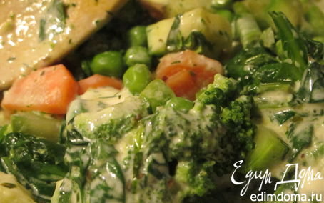 Рецепт Весенние овощи с пряными травами и сливочным соусом