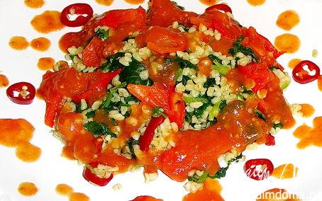 Рецепт Булгур со шпинатом и запечённым перцем