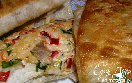 Рецепт Конвертики из лаваша с сыром, овощами и курицей