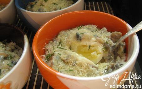 Рецепт Яйца с рисом,запечённые в соусе из шампиньонов
