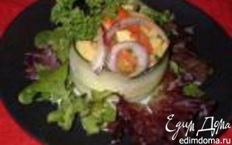 Рецепт Салат из Авокадо и Крабов с Печеным Перцем