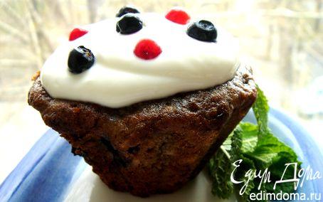 Рецепт Черничные кексы под сметанным кремом