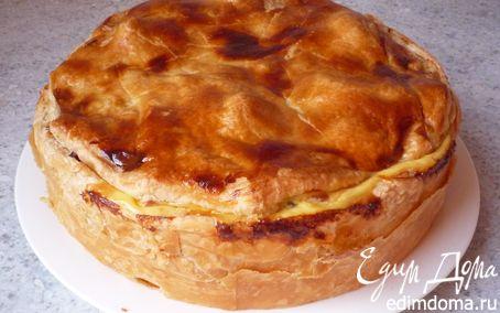 Рецепт Закрытый пирог из слоеного теста с картофелем, перцем и копченым окороком