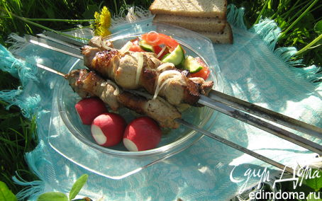 Рецепт Имбирно-лимонный шашлык-ассорти из курицы и свинины