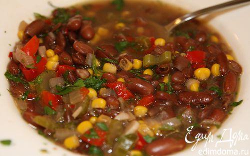 Рецепт Фасолевый суп с перцем и кукурузой