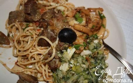 Рецепт Спагетти с кальмарами и индейкой