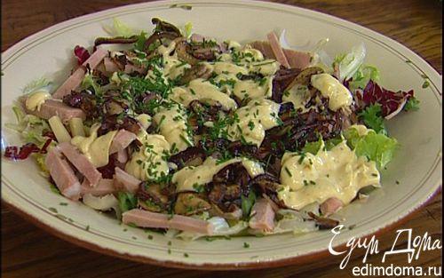 Рецепт Салат с грибами, сыром и бужениной